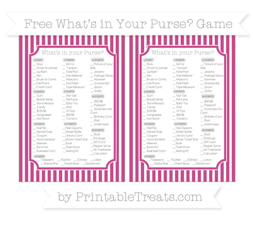 Free Mulberry Purple Thin Striped Pattern What's in Your Purse Baby Shower Game