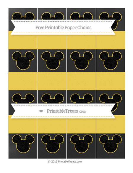 Free Mustard Yellow Chalk Style Mickey Mouse Paper Chains
