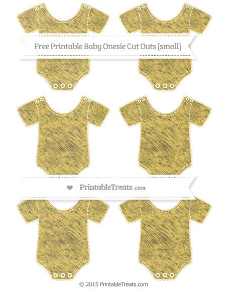 Free Mustard Yellow Chalk Style Small Baby Onesie Cut Outs