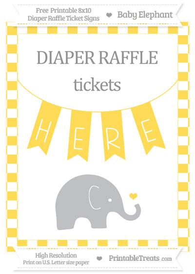 Free Mustard Yellow Checker Pattern Baby Elephant 8x10 Diaper Raffle Ticket Sign