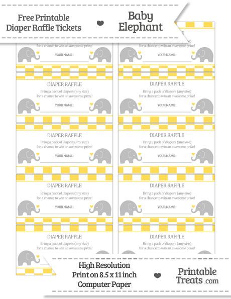 Free Mustard Yellow Checker Pattern Baby Elephant Diaper Raffle Tickets