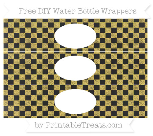 Free Mustard Yellow Checker Pattern Chalk Style DIY Water Bottle Wrappers