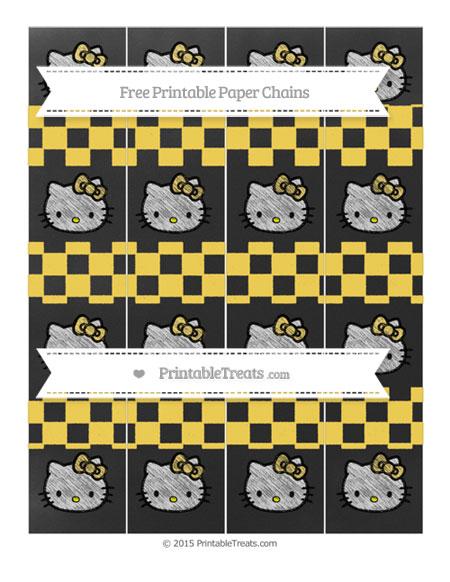 Free Mustard Yellow Checker Pattern Chalk Style Hello Kitty Paper Chains