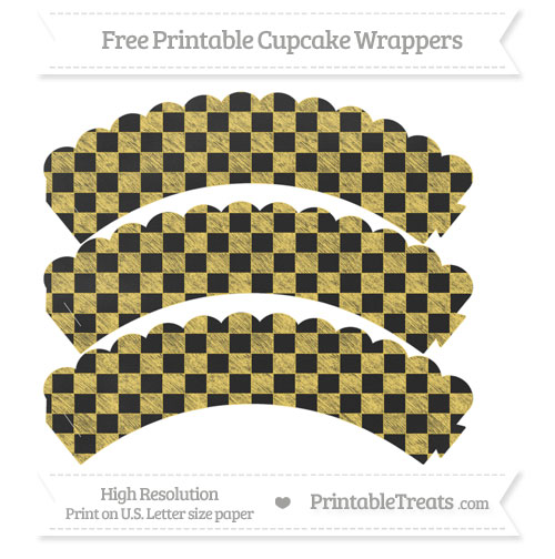 Free Mustard Yellow Checker Pattern Chalk Style Scalloped Cupcake Wrappers