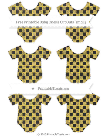 Free Mustard Yellow Checker Pattern Chalk Style Small Baby Onesie Cut Outs