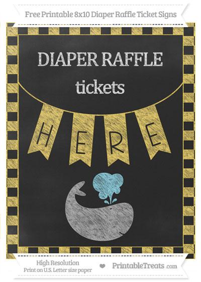 Free Mustard Yellow Checker Pattern Chalk Style Whale 8x10 Diaper Raffle Ticket Sign