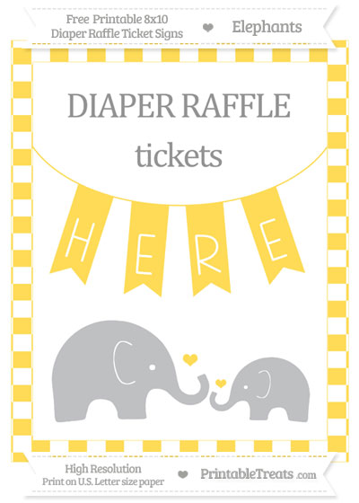 Free Mustard Yellow Checker Pattern Elephant 8x10 Diaper Raffle Ticket Sign