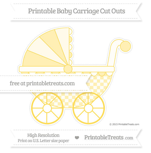 Free Mustard Yellow Checker Pattern Extra Large Baby Carriage Cut Outs