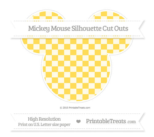 Free Mustard Yellow Checker Pattern Extra Large Mickey Mouse Silhouette Cut Outs