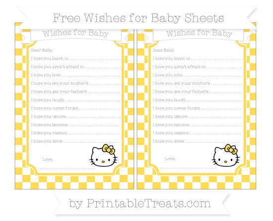 Free Mustard Yellow Checker Pattern Hello Kitty Wishes for Baby Sheets