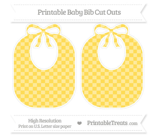 Free Mustard Yellow Checker Pattern Large Baby Bib Cut Outs