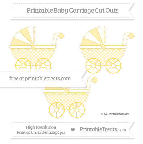 Free Mustard Yellow Checker Pattern Medium Baby Carriage Cut Outs