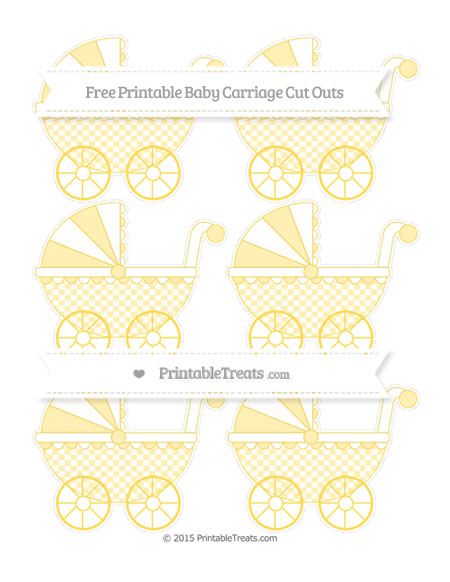 Free Mustard Yellow Checker Pattern Small Baby Carriage Cut Outs