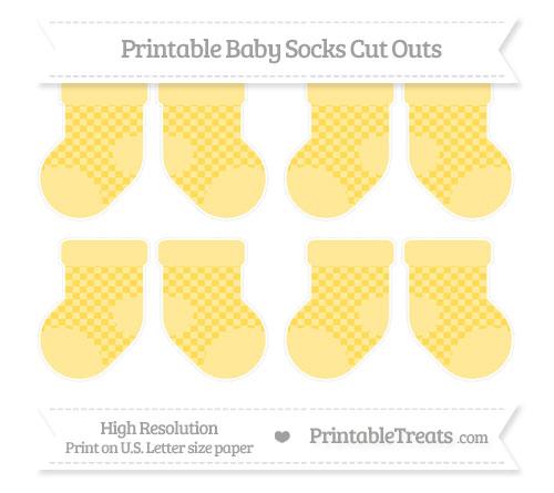 Free Mustard Yellow Checker Pattern Small Baby Socks Cut Outs