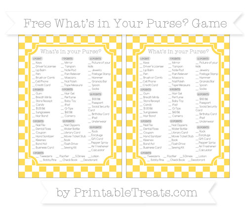 Free Mustard Yellow Checker Pattern What's in Your Purse Baby Shower Game