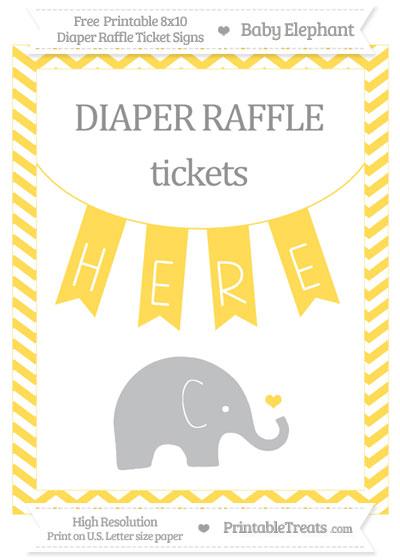 Free Mustard Yellow Chevron Baby Elephant 8x10 Diaper Raffle Ticket Sign
