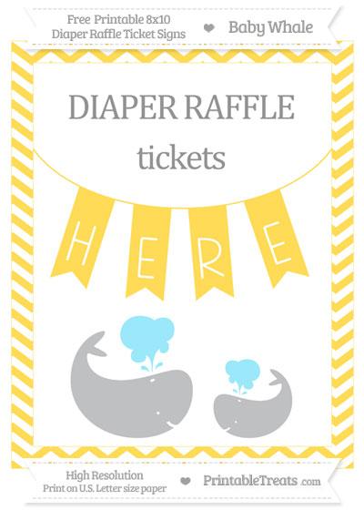 Free Mustard Yellow Chevron Baby Whale 8x10 Diaper Raffle Ticket Sign