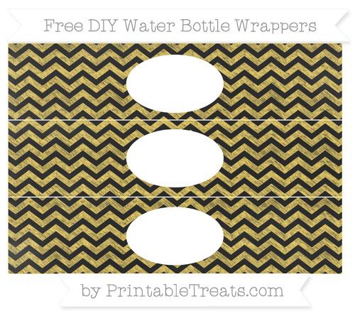 Free Mustard Yellow Chevron Chalk Style DIY Water Bottle Wrappers