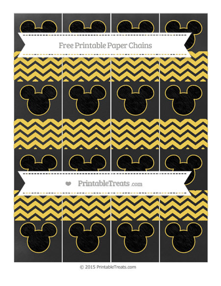 Free Mustard Yellow Chevron Chalk Style Mickey Mouse Paper Chains