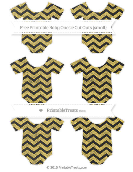 Free Mustard Yellow Chevron Chalk Style Small Baby Onesie Cut Outs