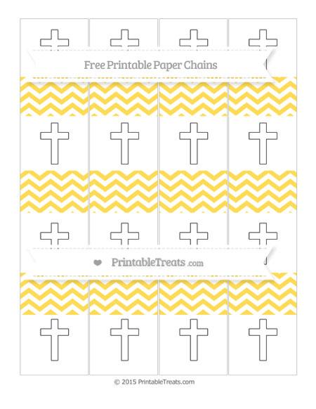 Free Mustard Yellow Chevron Cross Paper Chains