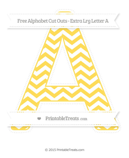 Free Mustard Yellow Chevron Extra Large Capital Letter A Cut Outs