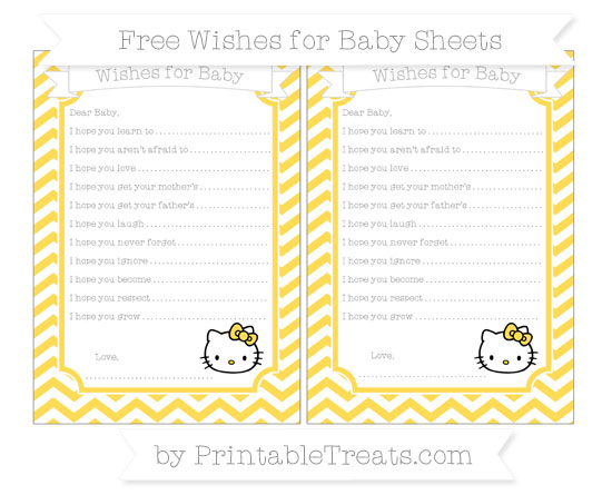 Free Mustard Yellow Chevron Hello Kitty Wishes for Baby Sheets