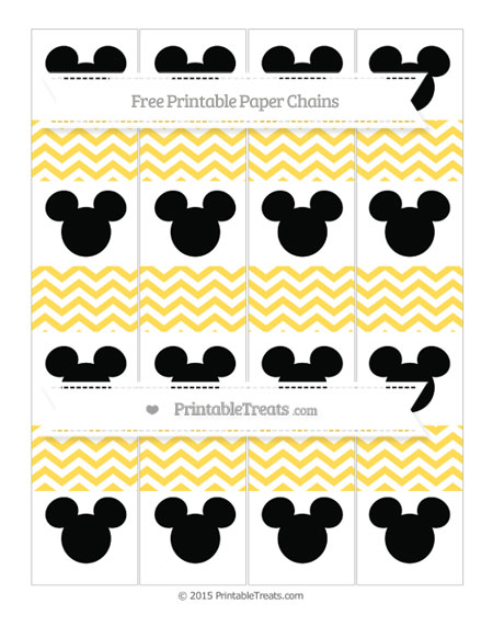Free Mustard Yellow Chevron Mickey Mouse Paper Chains