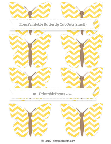 Free Mustard Yellow Chevron Small Butterfly Cut Outs