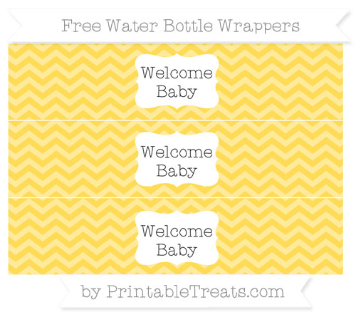 Free Mustard Yellow Chevron Welcome Baby Water Bottle Wrappers