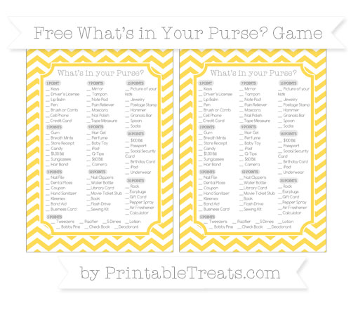 Free Mustard Yellow Chevron What's in Your Purse Baby Shower Game