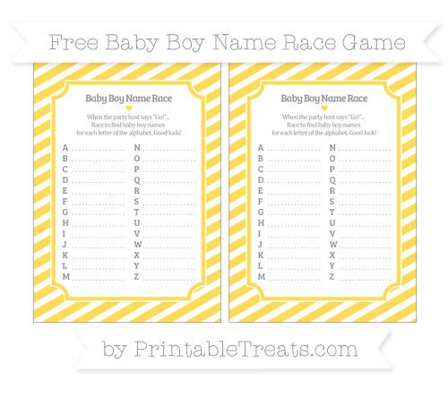 Free Mustard Yellow Diagonal Striped Baby Boy Name Race Game