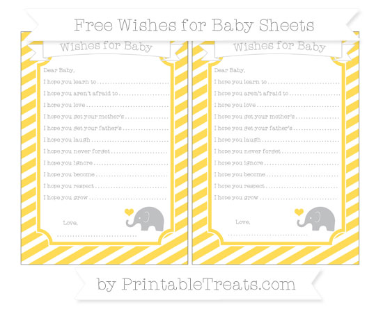 Free Mustard Yellow Diagonal Striped Baby Elephant Wishes for Baby Sheets