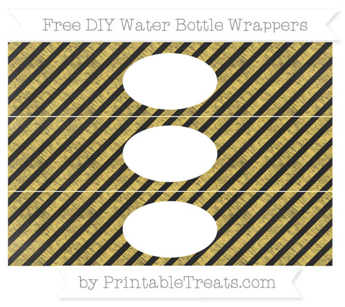 Free Mustard Yellow Diagonal Striped Chalk Style DIY Water Bottle Wrappers