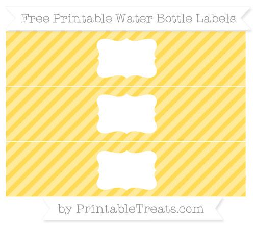 Free Mustard Yellow Diagonal Striped Water Bottle Labels