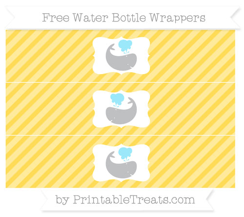Free Mustard Yellow Diagonal Striped Whale Water Bottle Wrappers