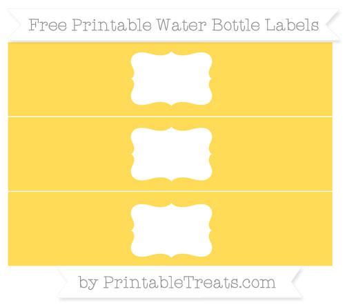 Free Mustard Yellow Water Bottle Labels