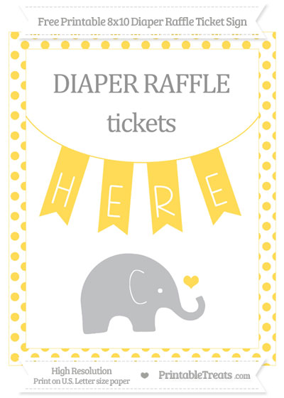 Free Mustard Yellow Dotted Baby Elephant 8x10 Diaper Raffle Ticket Sign