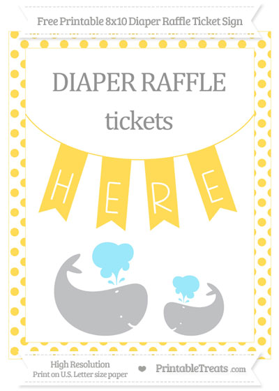 Free Mustard Yellow Dotted Baby Whale 8x10 Diaper Raffle Ticket Sign