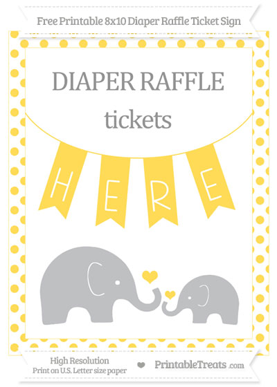 Free Mustard Yellow Dotted Elephant 8x10 Diaper Raffle Ticket Sign