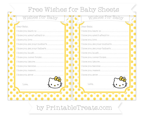Free Mustard Yellow Dotted Pattern Hello Kitty Wishes for Baby Sheets