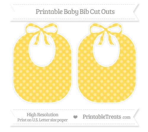 Free Mustard Yellow Dotted Pattern Large Baby Bib Cut Outs