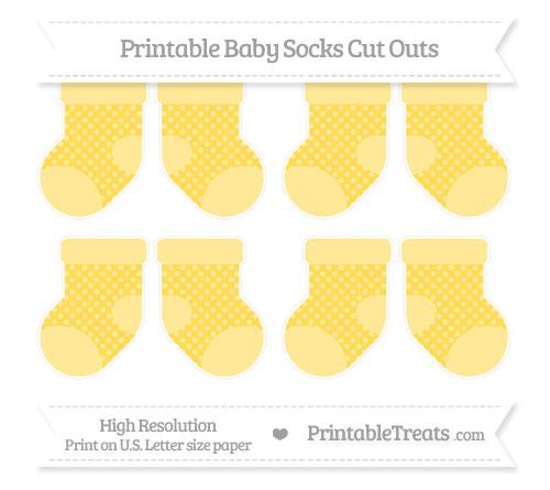 Free Mustard Yellow Dotted Pattern Small Baby Socks Cut Outs