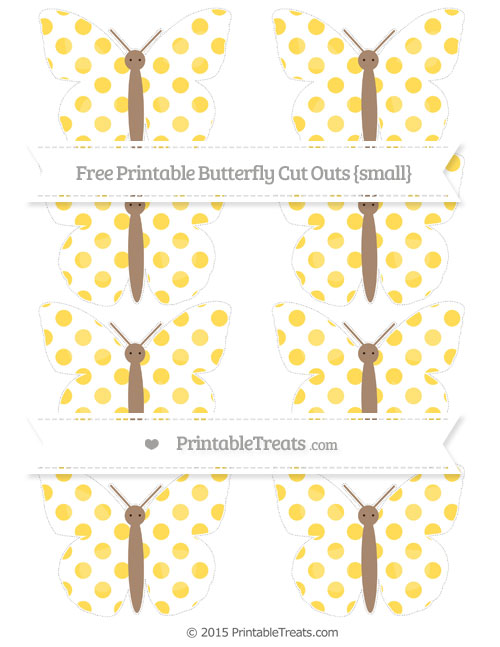 Free Mustard Yellow Dotted Pattern Small Butterfly Cut Outs