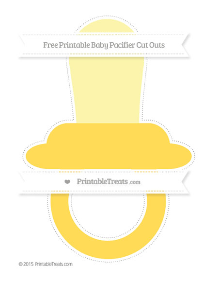 Free Mustard Yellow Extra Large Baby Pacifier Cut Outs