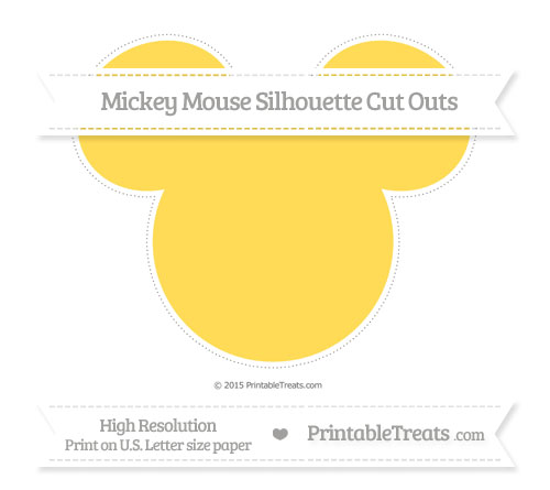 Free Mustard Yellow Extra Large Mickey Mouse Silhouette Cut Outs