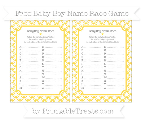 Free Mustard Yellow Fish Scale Pattern Baby Boy Name Race Game