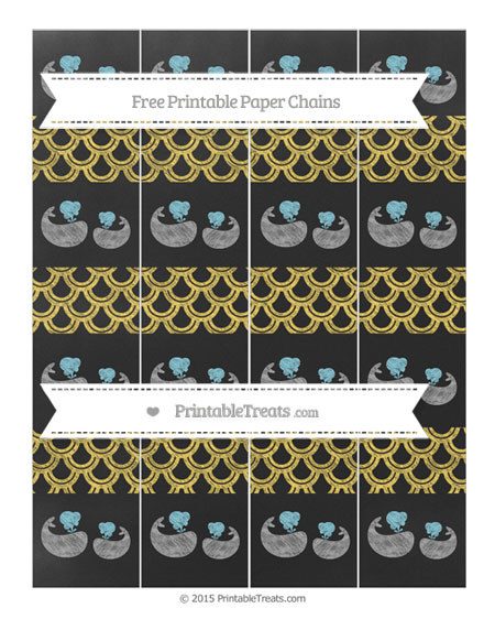 Free Mustard Yellow Fish Scale Pattern Chalk Style Baby Whale Paper Chains