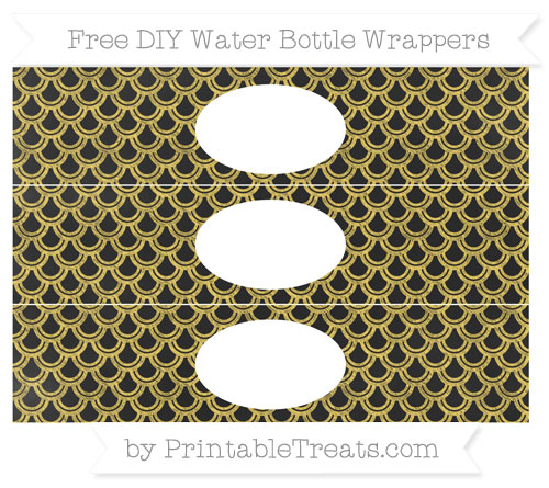 Free Mustard Yellow Fish Scale Pattern Chalk Style DIY Water Bottle Wrappers