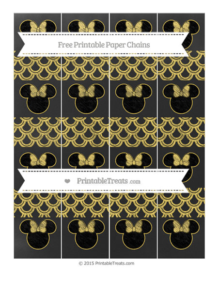 Free Mustard Yellow Fish Scale Pattern Chalk Style Minnie Mouse Paper Chains